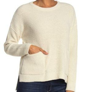 Melloday Two Pocket Pullover Plush Sweater Ivory
